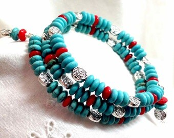 Turquoise and Red Coral Bracelet Multi Wrap Memory Southwestern Handmade Original Boho Country Red Blue & Matching Earrings - Gift for Her!
