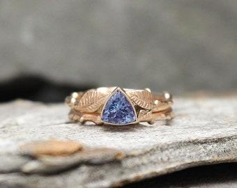 Tanzanite & 14k Rose gold Twig Ring Stacking Set