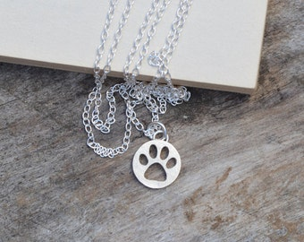 Hollow Pawprint Necklace In Sterling Silver, Handmade In The UK