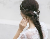 Bridal Headpiece , Ivory White Hair Wrap, Wedding Hair Accessory, Bridal Hair Chain , Crystal Pearl Headpiece, Opal Hair Vine