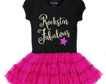 SALE Birthday Rock Star Dress, Rockstar Fabulous Pettidress, Party Dress, Girls Couture Dress, Tween Dress, Gold Pink Party