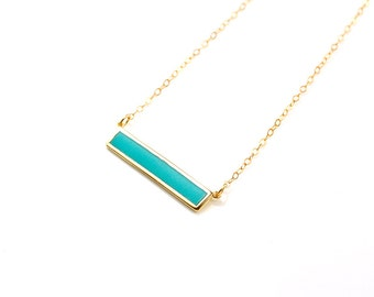 High Quality Turquoise Bar Necklace, Stone Inlay Bar Necklace, Crystal Pendant Bar, Gold Minimalist Necklace, Turquoise Necklace Bar Pendant