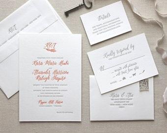 Letterpress Wedding Invitation - Monogram Bello Design - Calligraphy,Traditional, Elegant, Simple, Classic, Custom, Formal, Destination