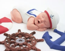 Nautical Sailor Baby Sugar Paste Cake Topper for Red, White, & Blue Baby Shower by lil sculpture