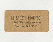 Custom Printed Return Address Labels - Design #18, Retro Vintage Address Labels, Brown Kraft Labels, Rustic Wedding