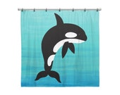Shower Curtain for Kids Bathroom from Hand Painted Images - Under the Sea Ocean Theme Orca -Killer Whale - Children's Bath Decor