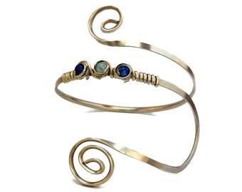 Blue Bridal Armband, Wire Arm Cuff, Spiral Silver Armlet, Boho Armband, Upper Arm Cuff, Arm Bracelet, Upper Arm Band, Arm Bangle