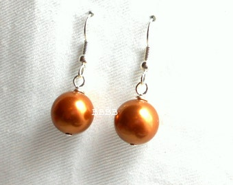 Swarovski Copper Pearl Earrings - Silver Plated Surgical Steel French Hooks