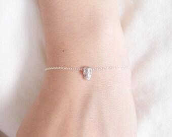 Tiny Silver Skull Bracelet, Sterling Silver Skull Bracelet, Dainty Bracelet, Delicate Bracelet, Simple Everyday Jewelry, Minimalist Jewelry