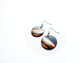vinyl disc earrings retro earrings black and orange earrings 80s earrings cool jewelry recycled earrings unique earrings gift for her