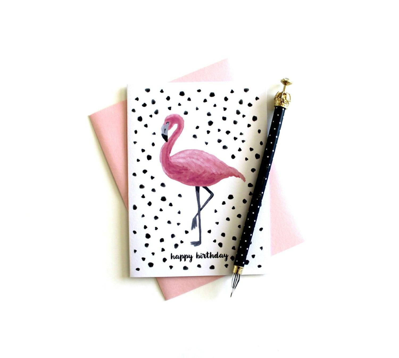 Flamingo Birthday Card Happy Birthday Birthday