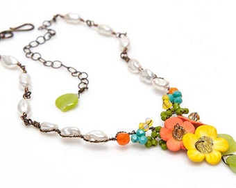 Orange and Yellow Flower Necklace, Orange and Yellow Beaded Necklace, Rustic Wedding Necklace, Summer Jewelry, Nature Jewelry, CPJ Item N468