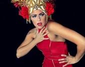 Stunning Red Rose Glittering Showgirl Gold fringe Extravagant elegant HAT,headpiece,fascinator,headdress Rose
