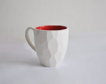 modern faceted coffee cup white minimalism conceptual style