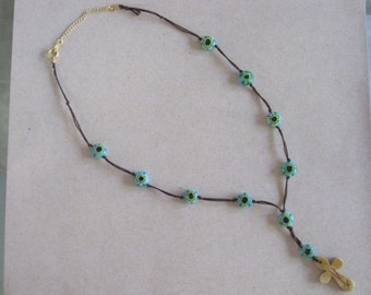 Beige Tan Etched Bamboo Native Southwestern Holy Crucifix Cross Daisy Blue Glass Bead Y Necklace