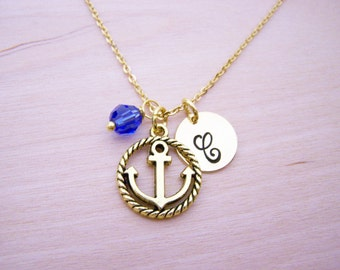 Anchor Necklace - Gold Initial Necklace - Birthstone Necklace - Gold Initial Necklace - Personalized Necklace - Anchor Charm