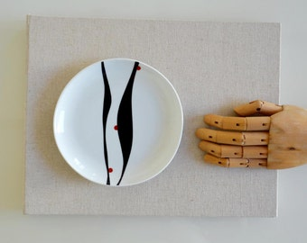Porcelain plate, original abstract plate,abstract art on plate, minimal, modern plate, geometric, hand painted plate by cristina Ripper