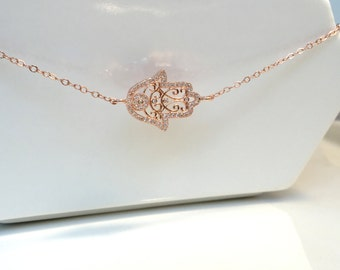Rose Gold Hamsa Necklace, Gold Hamsa Necklace, Silver Hamsa Necklace, Wedding Jewelry, CZ Hamsa Necklace, Wedding Jewelry, Bohemian