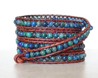 Boho chrysocolla bracelet/ Bohemian blue green gemstone 5 wrap/ Earthy rustic leather ladder bracelet/ wrapped beaded chrysocola bracelet