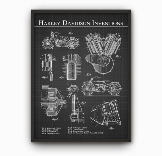 Harley Davidson Inventions Wall Art Poster By QuantumPrints