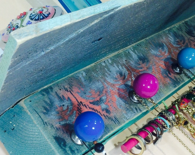 Floating shelves/ pallet wood wall shelf /jewelry wall hanging Scarf storage /recycled shelving stenciled ikat 5 knobs 2 hooks bracelet bar