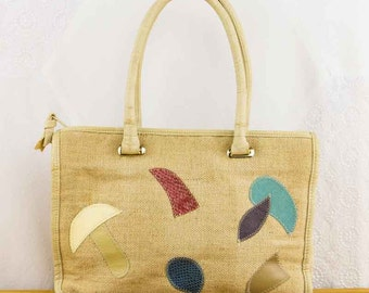 Vintage 1980s Abstract Patchwork Tote