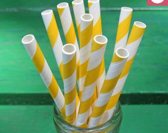 Yellow Paper Straws, 50 Yellow Straws, Party Straws, Striped Straws, Yellow and White Party, Baby Shower, Birthday, Party Decoration