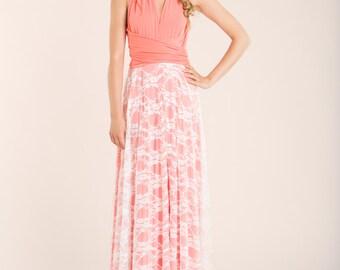 Coral pink lace bridesmaid dress, long coral lace dress, coral pink bridesmaid dress, long pink bridesmaid dress, pink lace dress, pink gown