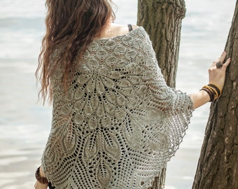 Knitted shawl / lace wrap / grey scarve / shawl / women handknitted lace stola / bohemian chic / boho laces wrap