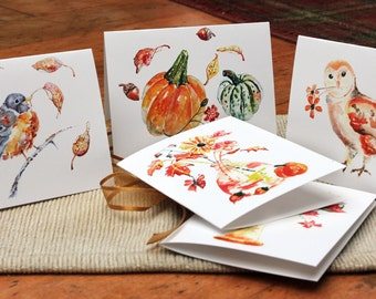 Boxed Autumn Notecards Set, Watercolor Cards, Bird Cards, Gift for Grandma, Flower Cards, Set of 10, Watercolor Notecards,