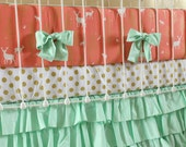 Crib Bedding Girl Coral, Metallic Gold, and Mint Custom Bedding, 3-Piece Bumper, Sheet, and Ruffle Skirt Baby Bedding Set for Baby Nursery