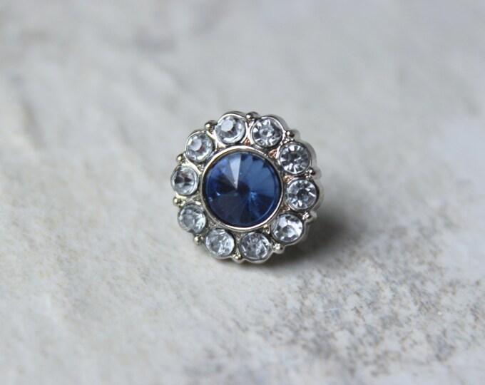 Mens Tie Tack, Mens Accessories, Wedding Tie Tack, Mens Wedding Accessories, Crystal Tie Clip, Sapphire Blue Crystal Tie Pin, Mens Tie Pins