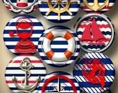"Digital Collage Sheets - Bottle Cap, Glass Cabochon, Resin Pendant Images - Nautical, Marine - 1.5"", 1.25"", 30mm, 25mm, 1"" circles - CG-942"