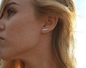 Supernova Stud earrings by Heart Majestic/Ear cuffs//Sterling silver stud earrings//Star earrings//Moon earrings