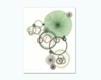 Retro Art Print Giclee Print Abstract Print, Limited Edition Giclee, Geometric Print Abstract Print 8 x 10 Green Home Decor Green Wall Art