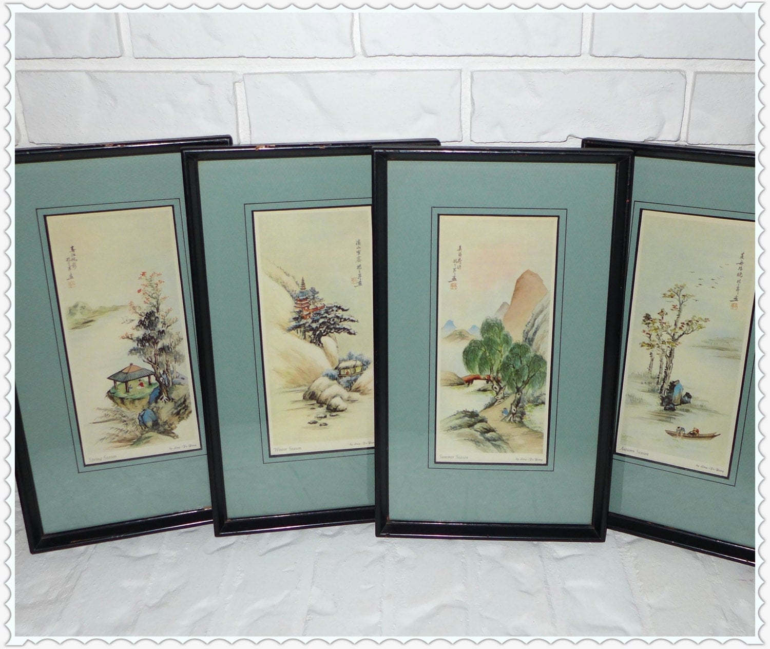 Framed Asian Prints Four Seasons Ling Fu Yang Vintage
