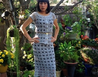 Gray silver shimmering hand crochet pencil skirt and top. Fall crochet dress Size S-M