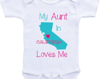 My Aunt Loves Me Onesie from Different States Aunt Onesies Auntie shirt/ I love my Aunt for baby boy or baby girl Aunt baby shirt