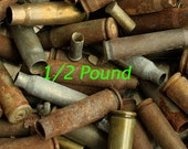 1/2 Pound Junk Lot of Spent Empty Bullet Shell Casings - Rusty Rustic Gun Rifle Shells from Colorado for Arts, Crafts  Security - 1/2LB-JK