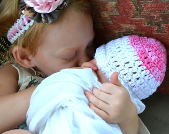 Angel Kisses Crochet Baby Hat Kiss Me Pink & White Two Tone Tip Crocheted Newborn Girl Infant Beanie 100% Cotton Goodnight Sleeper Night Cap
