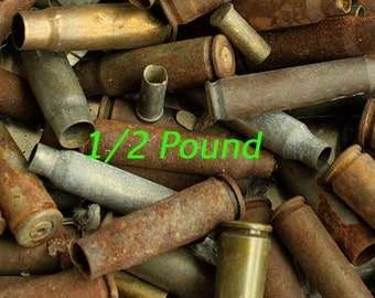 1/2 Pound Junk Lot of Spent Empty BULLET Shell Casings Rustic Ammo Gun Rifle Shells from Colorado - Gag Gift - Gifts for Guys - 1/2lb-jk