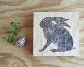 "modern rustic home accent: ""cape hare,"" printed birch wood panel"