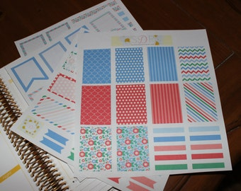 Red & Blue Floral Set! Set of 96 Planner Stickers