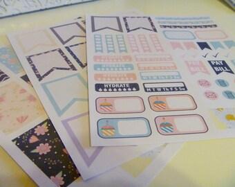 Midnight Flowers Planner Kit- Set of 76 Planner Stickers