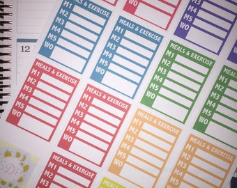 Rainbow Tone It Up Meal Tracker Stickers! Set of 30 Planner Stickers