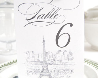 Paris Skyline Table Numbers (1-10)