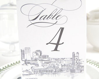 Sacramento Skyline Table Numbers (1-10)