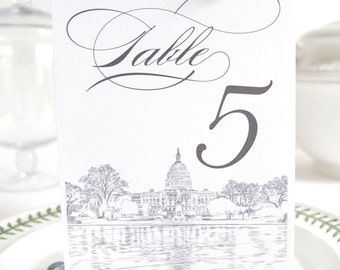 Washington DC Skyline Table Numbers (1-10)