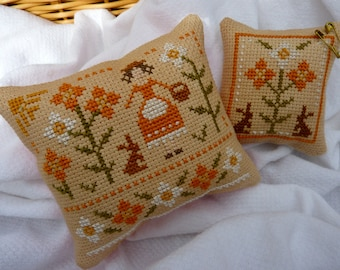 Completed Pair of Primitive Cross Stitch Pin Cushion - Primrose Maiden - Floral with Rabbits