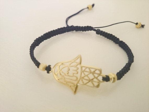 Arabic Calligraphy Gold Plated Hamsa Bracelet Mashallah